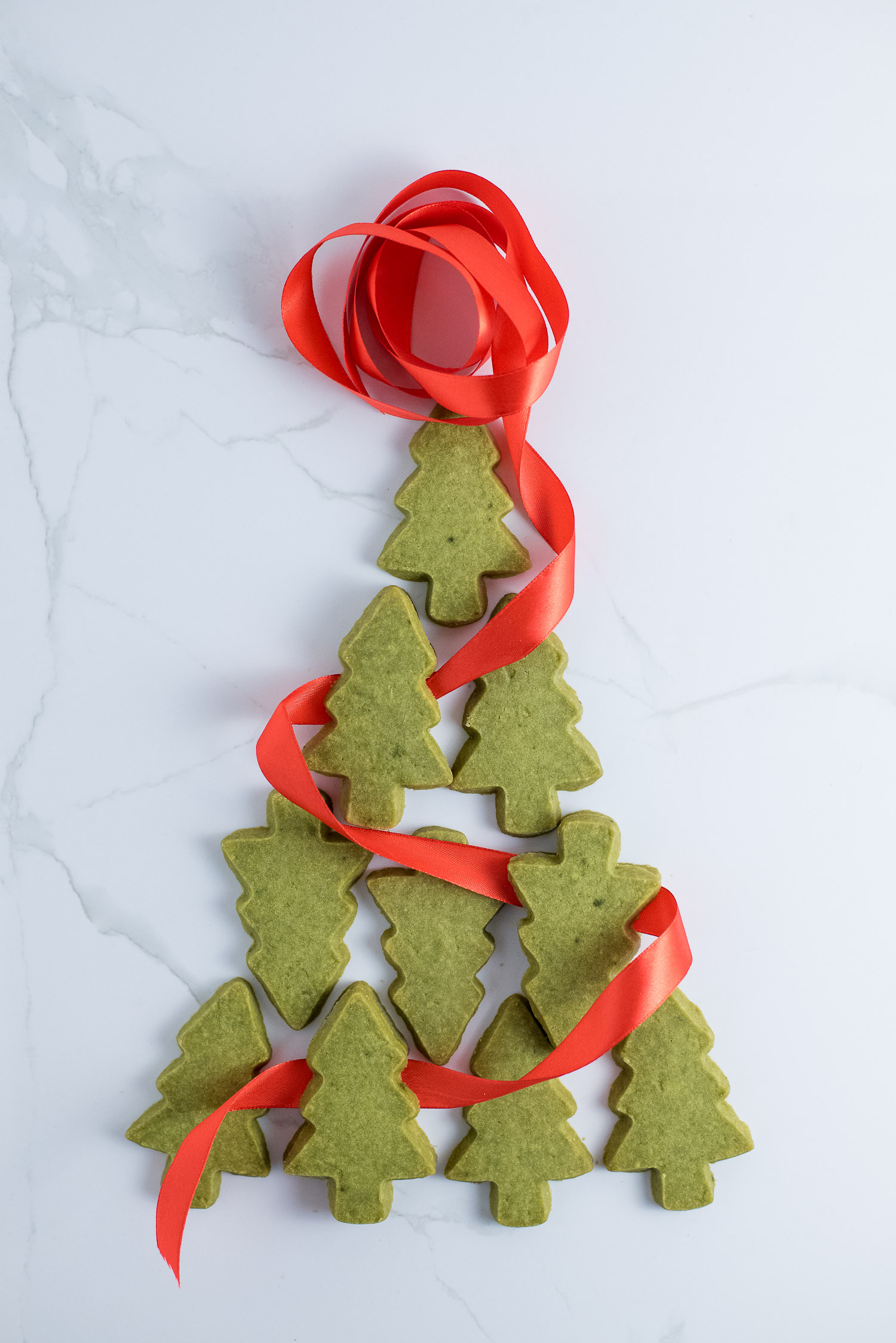 Matcha Shortbread Christmas Trees Chocolate Connie